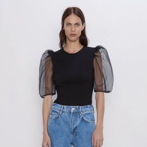 New with tags Zara organza sleeve top XS